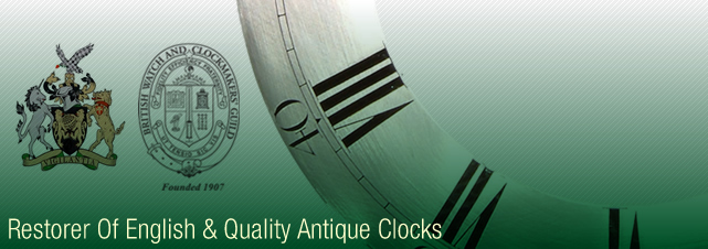 Restorer of English and quality antique clocks, complete dial and case restoration for long case clocks.